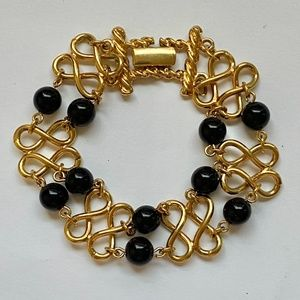 Vintage Gold Tone with Black Agates Bracelet